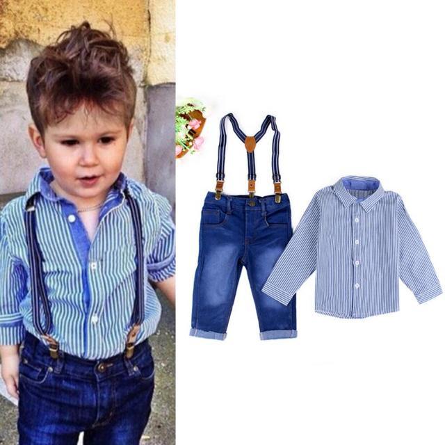 d33980fb8dbd6 Moda infantil menino roupas meninos roupas set longo-manga da camisa da  listra azul +