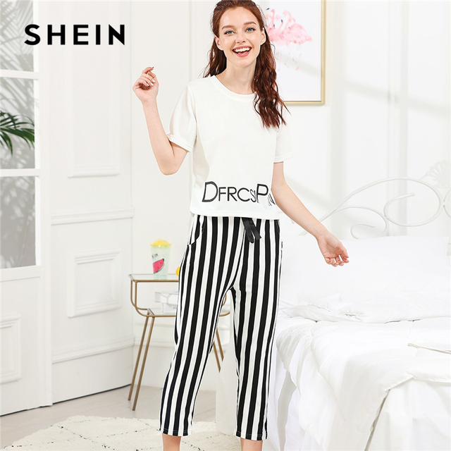 e1a779c665 SHEIN Black And White Preppy Elegant Letter Print Top And Striped Pants PJ  Set 2018 Summer