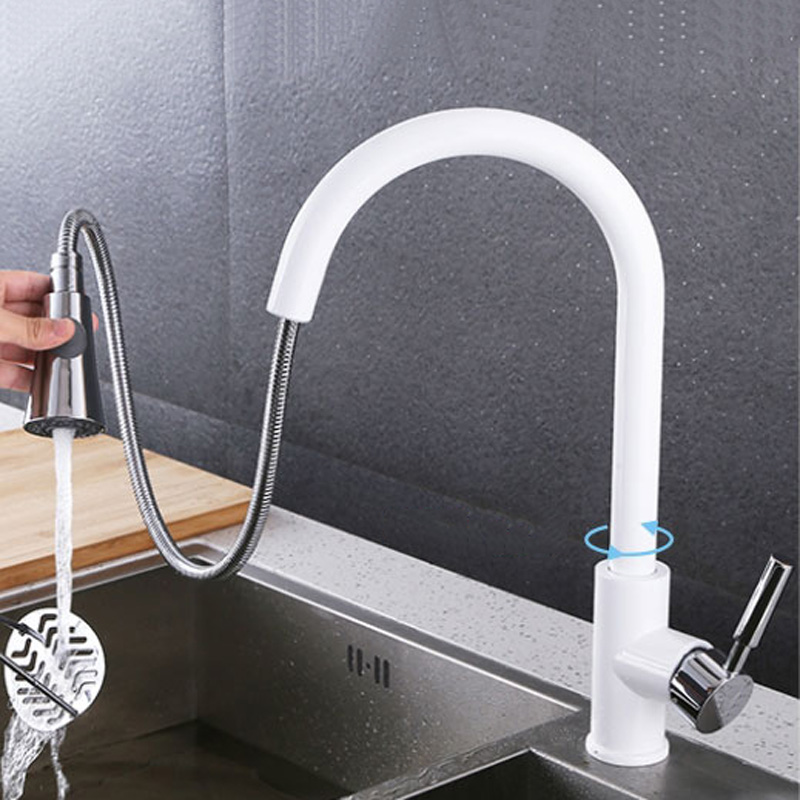 Pull Out Sprayer Kitchen Faucet Chrome Deck Mounted 360 Degree Luxury White Hot and Cold Stream Water Mixer Bathroom Tap Sink durable kitchen faucet pull out deck mounted pull swivel 360 degree rotating cold and hot water tap torneira dourada mixer tap