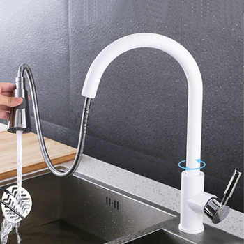Pull Out Sprayer Kitchen Faucet Chrome Deck Mounted 360 Degree Luxury White Hot and Cold Stream Water Mixer Bathroom Tap Sink - DISCOUNT ITEM  29% OFF All Category