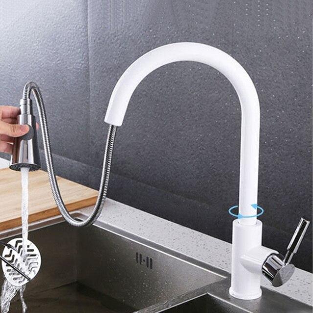 Ziehen Sprayer Küchenarmatur Chrom Deck Montiert 360 Grad luxus Weiß ...