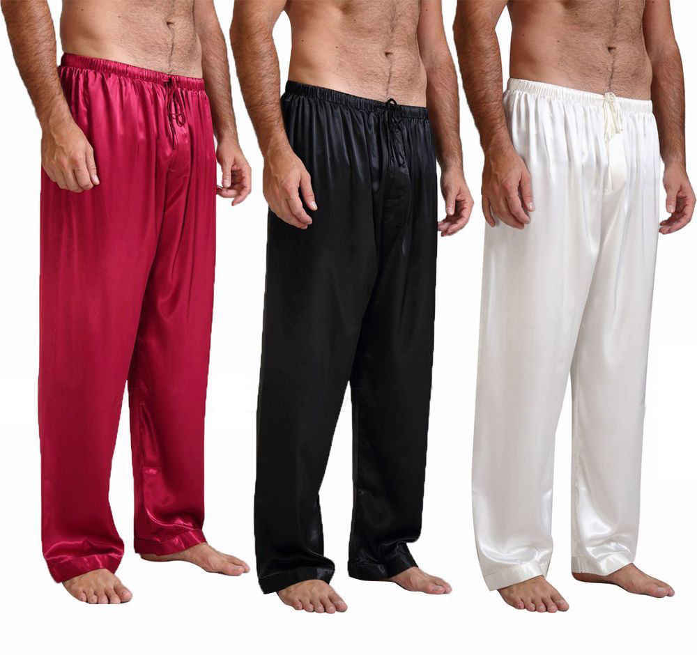 a06196b83b 2018 Autumn Summer Mens Silk Satin Pajamas Pyjamas Pants Soft Long Sleep  Bottoms Nightwear Sleepwear Trousers