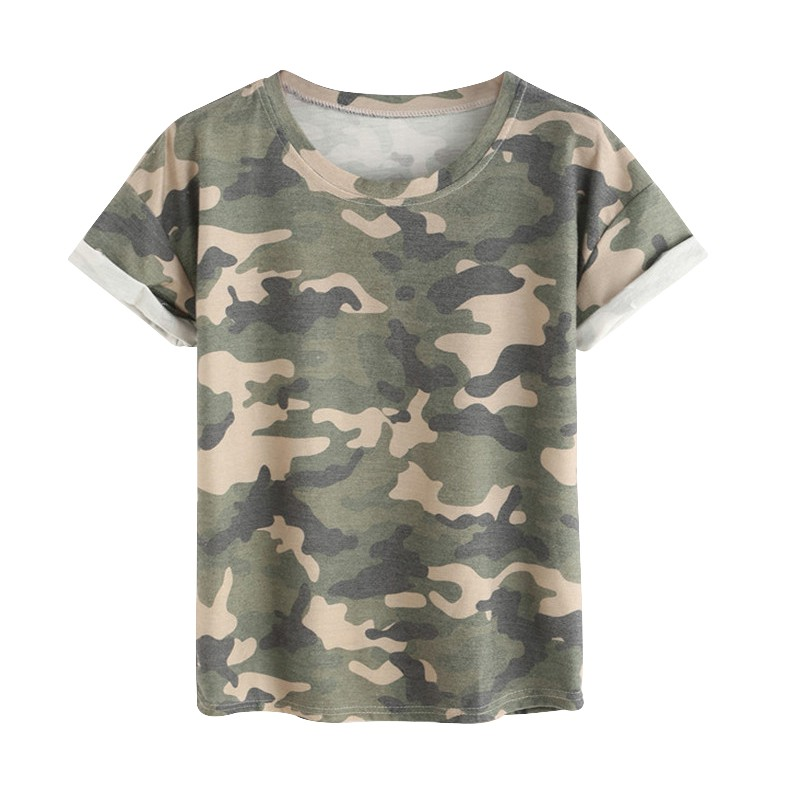 Fashion Women Clothes Ladies Summer Tops Round Neck Rolled Short Sleeve Casual Camouflage T-shirt Tops Shirt