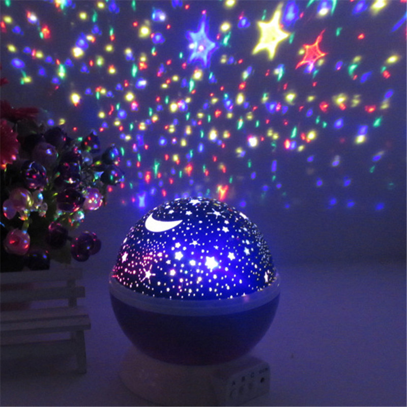 Romantic Rotating Star Moon Sky Rotation Projector Novelty Starry USB Night Light Lamp Projection For Kids Bed Lamp Luminaria