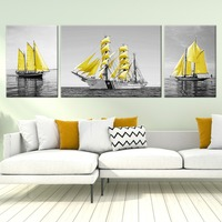 Modern Gold Sailboat Sea Canvas Painting Landscape Poster Print Wall Art Pictures for Office Living Room Home Decoratio No Frame