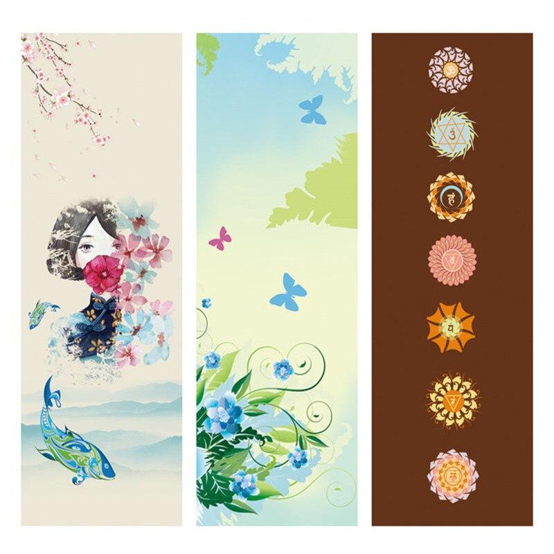 ①  6 ММ Lotus Pattern Портативный Противоскользящие Печатные Замшевые Пилатес Йога Коврики из Микрофибр ✔