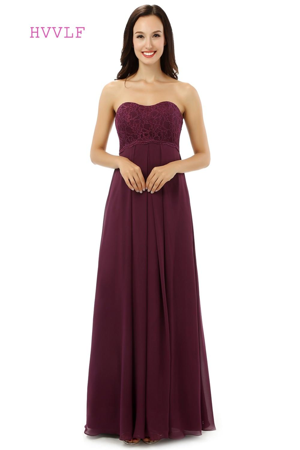 HVVLF 2019 Cheap   Bridesmaid     Dresses   Under 50 A-line Sweetheart Floor Length Purple Chiffon Lace Wedding Party   Dresses