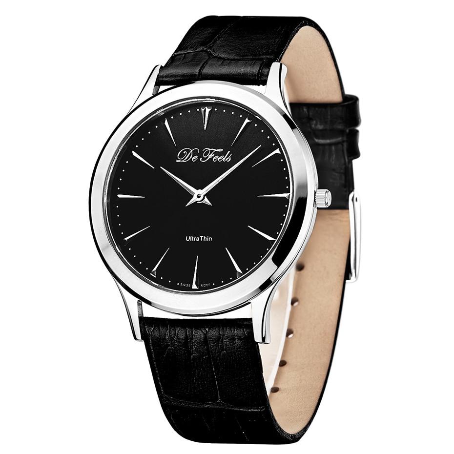 De Feels Ultra Thin Mens Simple Quartz Watch With Swiss Ronda movement Sapphire Glass Stainless Steel Case 30 Bar waterproof