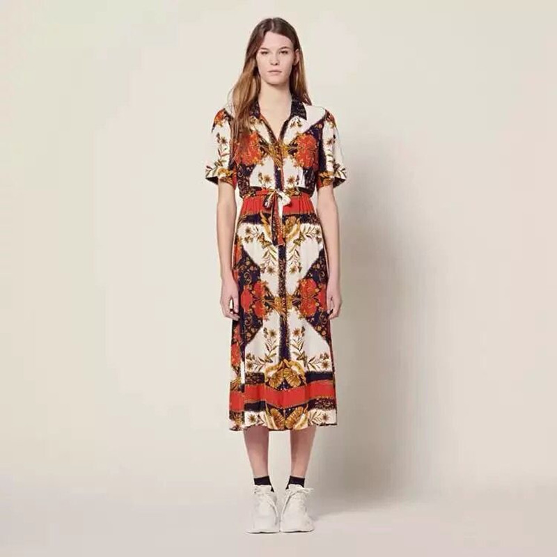 Women Bohemia Long Dress Flower Print Short Sleeve Vintage Midi Dress