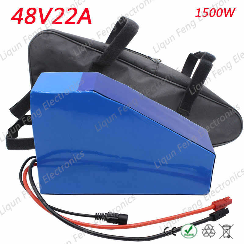 48V 22AH 1500W Ebike Battery 48V 20AH Electric Bike Battery 48V Lithium Battery use for  with 40A BMS and 2A charger