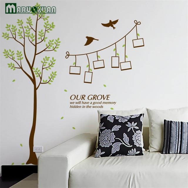 US $5.27 12% OFF|Maruoxuan grüne zweige foto baum wohnzimmer das  schlafzimmer wandaufkleber speicher rahmen hintergrund dekoration aufkleber  in ...