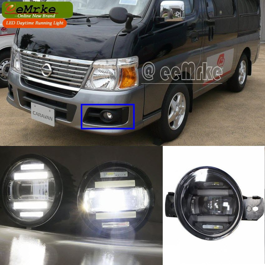 eeMrke Xenon White High Power 2in1 LED DRL Projector Fog Lamp With Lens For Nissan Caravan / URVAN Bus E25 2007 цена