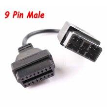 ชาย9Pin To 16Pin OBD 2 OBDII DiagnosticสำหรับSUBARU 9 Pin Obdพอร์ตแปลง16 Pinหญิงอินเทอร์เฟซAuto Scan Adapter