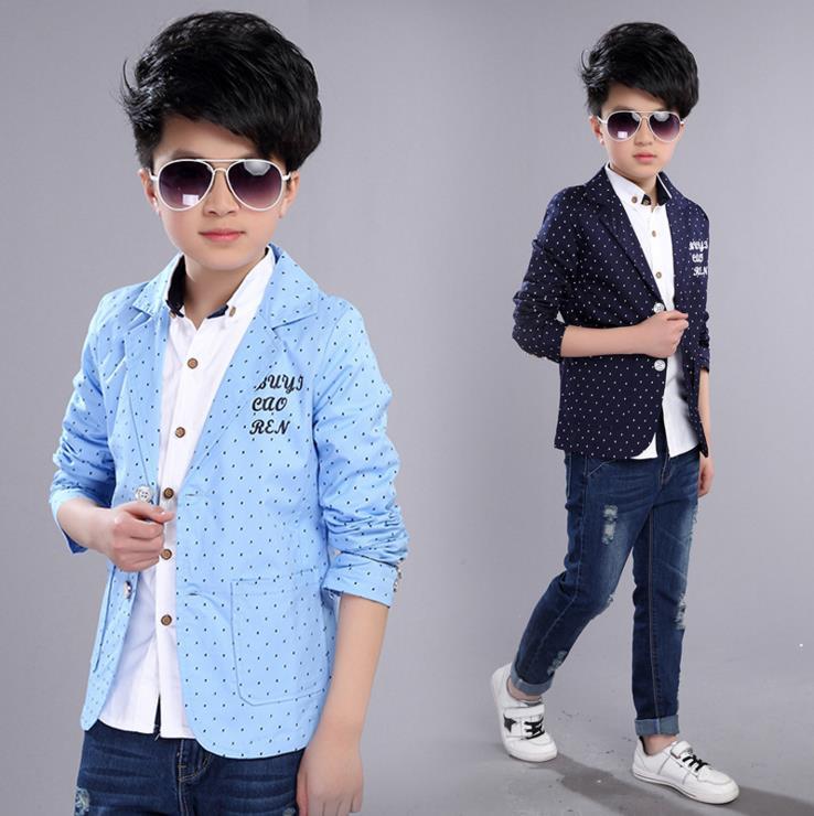 Kids Blazers Jackets Kid Boy Buttons Casual Cotton Blue Slim V-neck Fit Blazer Jacket KS-1608 notch neck contrast stitch blazer