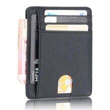 ed159958157 Slanke RFID Blocking Lederen Portemonnee Credit Id-kaart Houder Purse Geld  Case voor Mannen Vrouwen