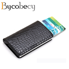 BYCOBECY  Card Holder for Men Women RFID Aluminium Alloy Credit PU Leather Wallet Automatic Pop Up Case