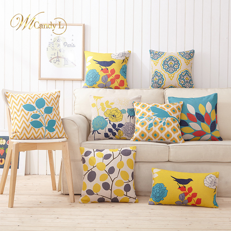 WL Candy L Flower Series Cushion Cover 2018 New Linen Cotton Pillow Covers 45X45cm Bedroom Sofa Car Square Pillow Decor