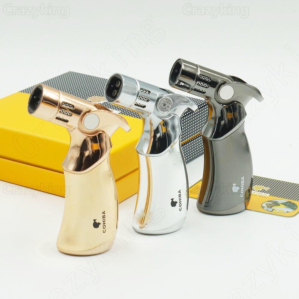 L'europe L'acheteur COHIBA Gun Metal 4 TORCHE JET FLAMME Gaz Butane ALLUME-CIGARE Cigarette Coupe-Vent Briquets Cadeau Boîte