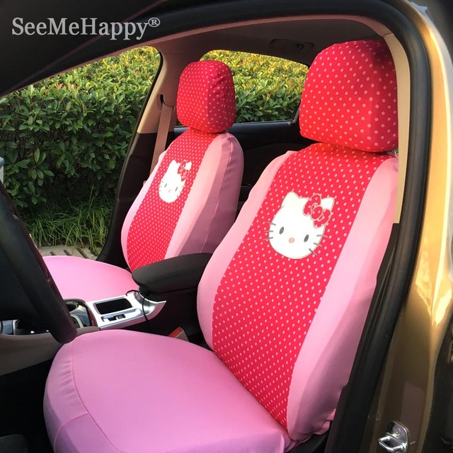 Universal Hello Kitty Car Seat Covers pink bowknot&red dots cushion faux fur car styling Car interior-6pcs Only front two seats