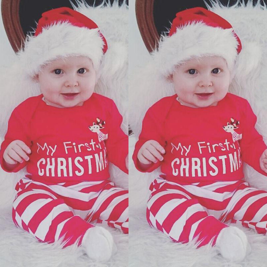 2pcs Christmas New Baby Boys Girls My First Christmas Reindeer Suit 1-3 Years