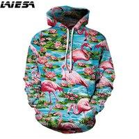 LIESA 3D Hoodies Flamingo Pattern Sweatshirts Fashion Men Women Hooded Streetwear Pullover Tracksuit Hoody New 2018