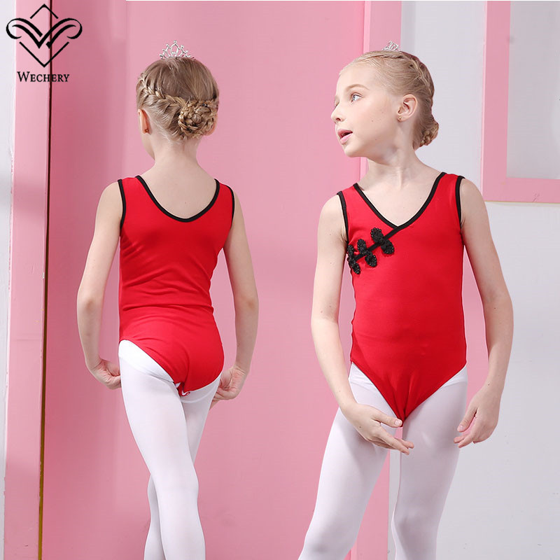 Wechery Ballet Dance Wear Cotton V Neck Leotards Gymnastics Dancing Clothes for Ballet Performance Costume Sleeveless Vintage