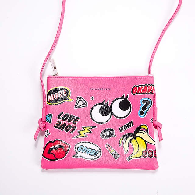 New Fashion Girls' shoulder bag cartoon big eye PU leather handbag female  cross Messenger bags