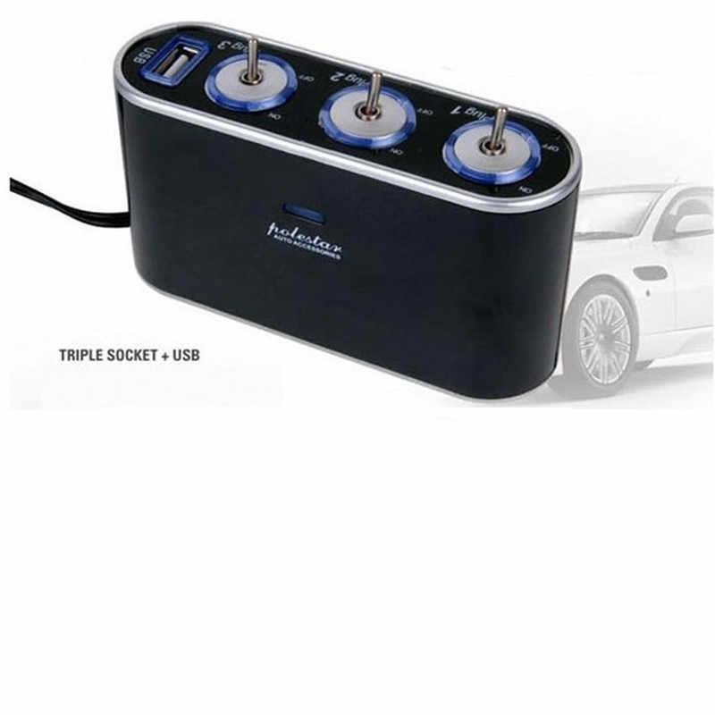 Allume Cigarette Voiture 3 voies Triple Voiture allume-cigare prise répartiteur 12 V/24 V + USB + lumière LED interrupteur livraison directe may11
