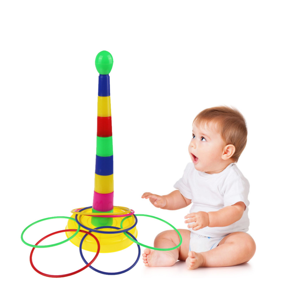 Baby Kids Toys Plastic Circle Sets Educational Toys For Children Puzzle Game Kids Ring Toss Game Colorful Toy Puzzles Colorful
