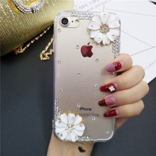 XINGDUO Glitter 3D flower diamond case for Samsung Note 5 8 9 S10 Lite Transparent crystal shell galaxy S8 S9 S7 Plus