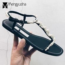 793e5547575 famous brand pearl beading flat sandal women T-strap gladiator sandalias  boheme beach shoes woman flip flops sandales femme c396