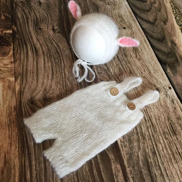 Baby Mohair Hat and Pants Newborn Rabbit bonnet Crochet baby Romper props  Animal Onesie Photography Props 2cf1c1f917a2