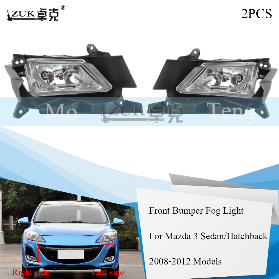 ZUK 2PCS Lot Front Bumper Fog Light Fog Lamp For Mazda 3 M3 2008 2009 2010