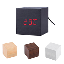 Modern Wooden Cube Digital LED Thermometer Timer Calendar Desk Alarm Clock