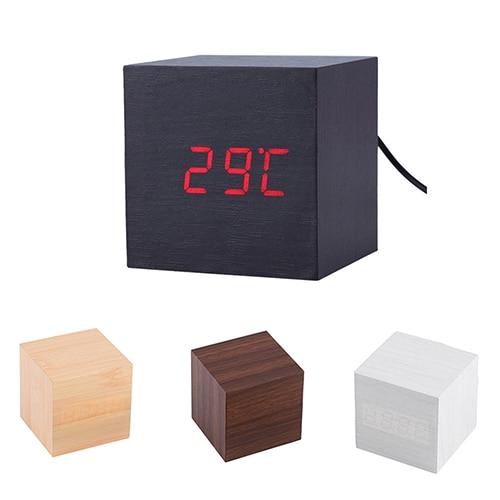 Modern Wooden Cube Digital LED Thermometer Timer Calendar Desk Alarm Clock