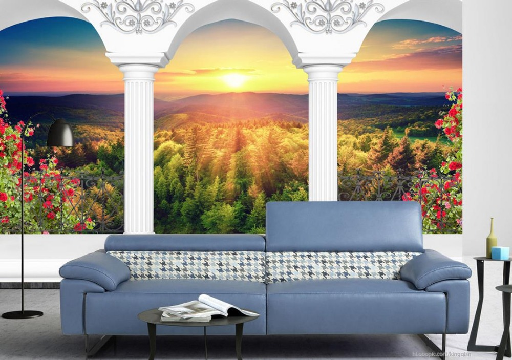 3d stereoscopic wallpaper Custom 3d wallpapers for living room Roman column colonnade woods landscape 3d wallpaper walls custom baby wallpaper snow white and the seven dwarfs bedroom for the children s room mural backdrop stereoscopic 3d