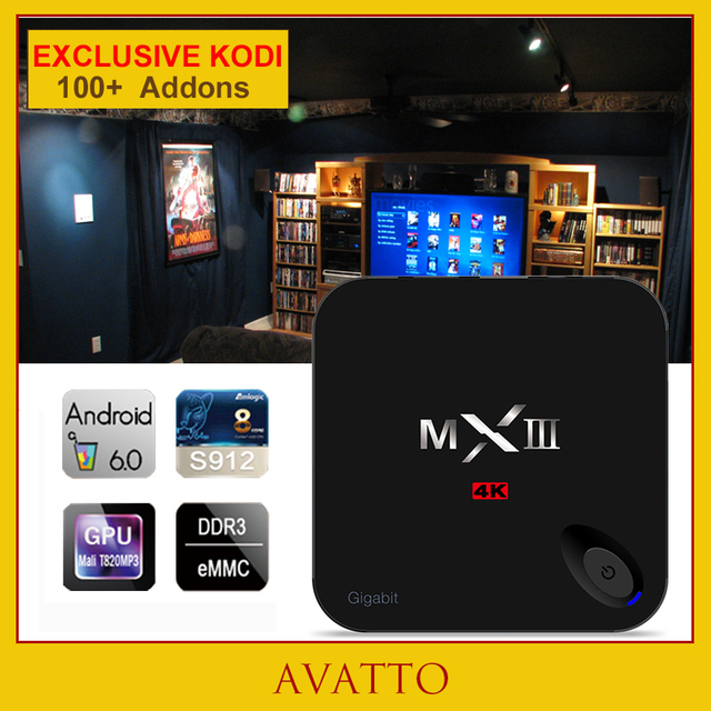 [Avatto] 2g/16/32g kodi totalmente cargado android 6.0 amlogic mxiii-g personalizada s912 ocat core smart tv caja hdmi, wifi, 4 k, h.265, mxiii