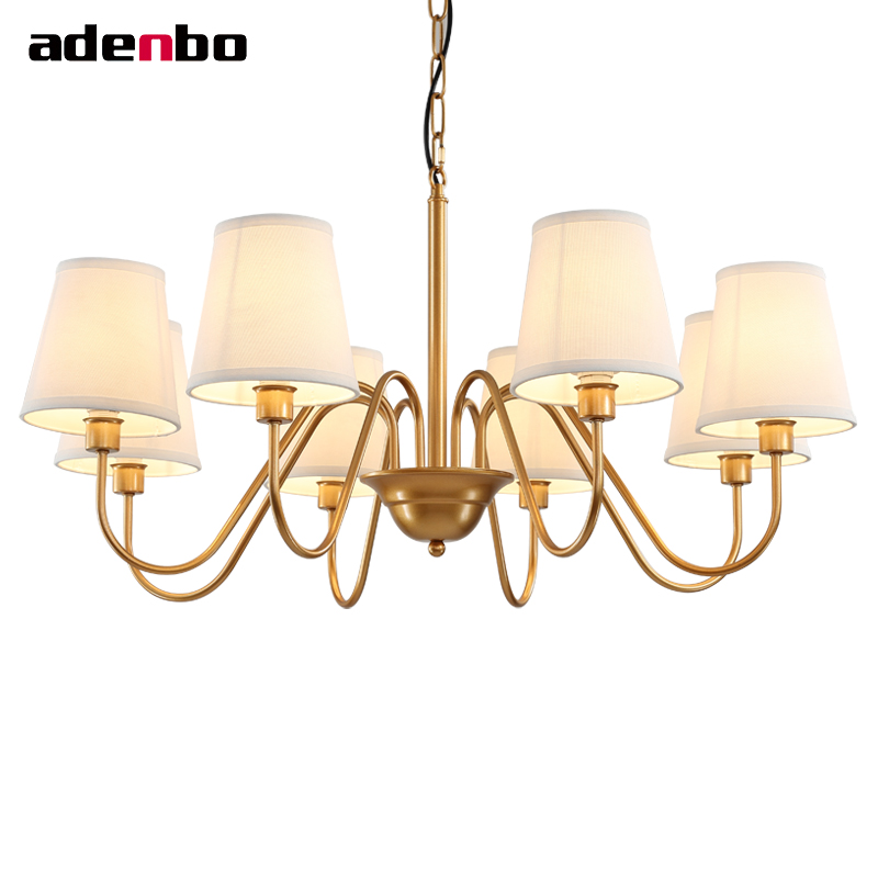 Gold LED Chandelier Vintage Wrought Iron Chandeliers Lighting Fixtures LED Hanging Lamp With Fabric Shade For Dining Room american style black wrought iron vintage led chandelier lights fixtures candle chandeliers for room lighting 3018