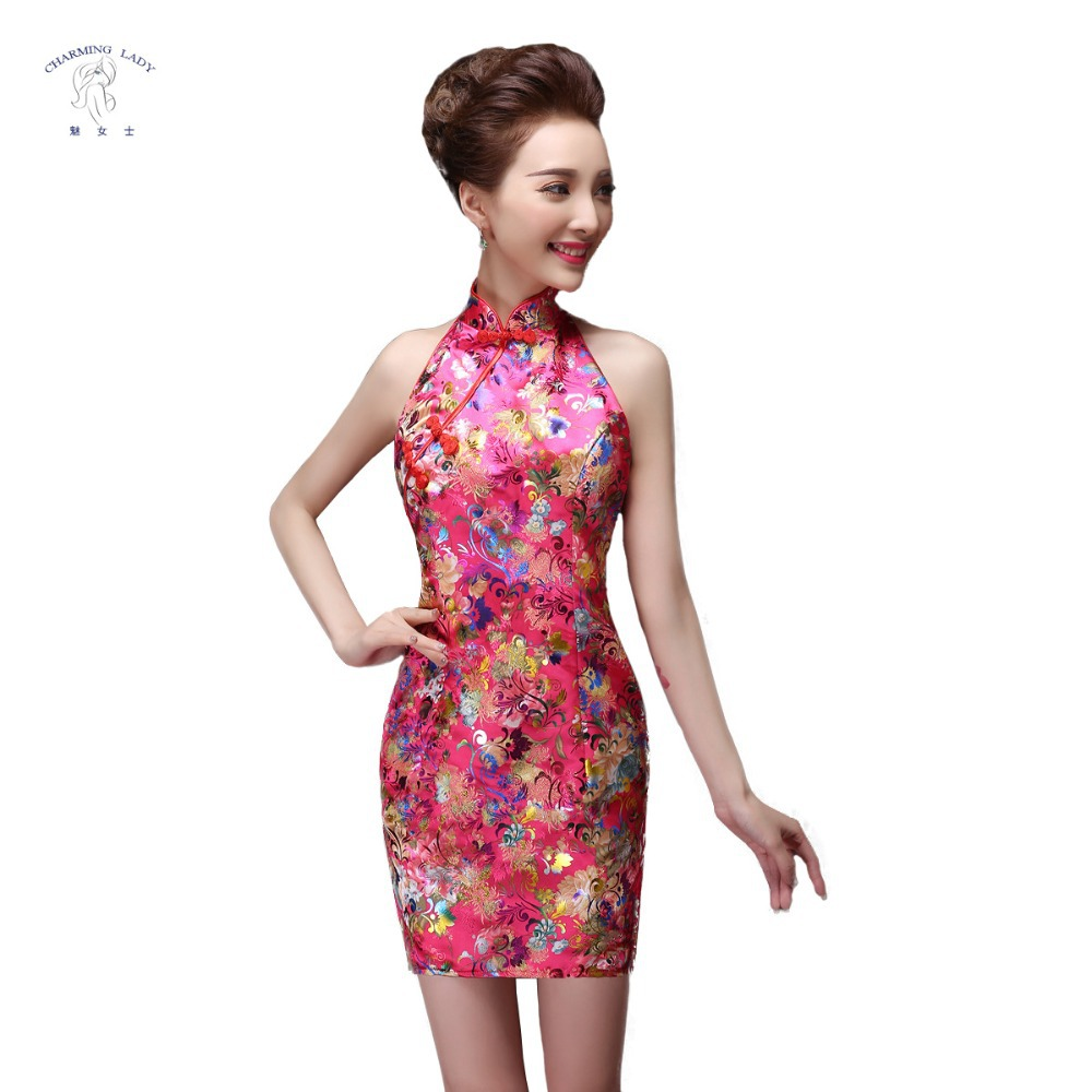 2015 Sexy Chinese Brocade Fabric Cheongsam Red Qipao Wedding Dresses ...