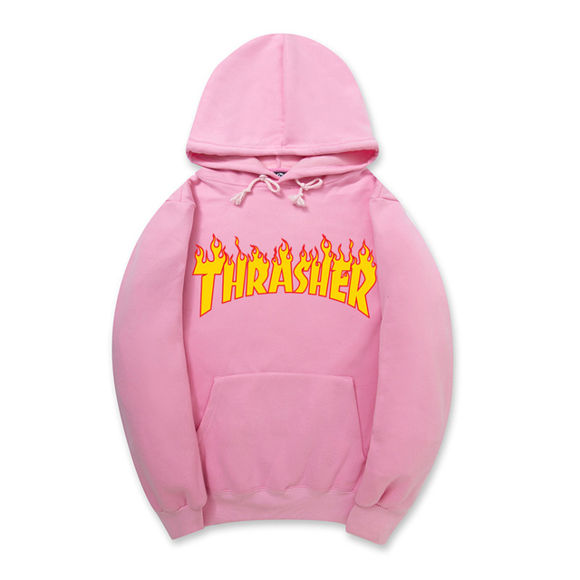 THRASHER Pink Letter Print Women Hoodies New Brand 2017 Spring Autumn Long Sleeve Loose Ladies Sweatshirt Plus Size Tracksuit