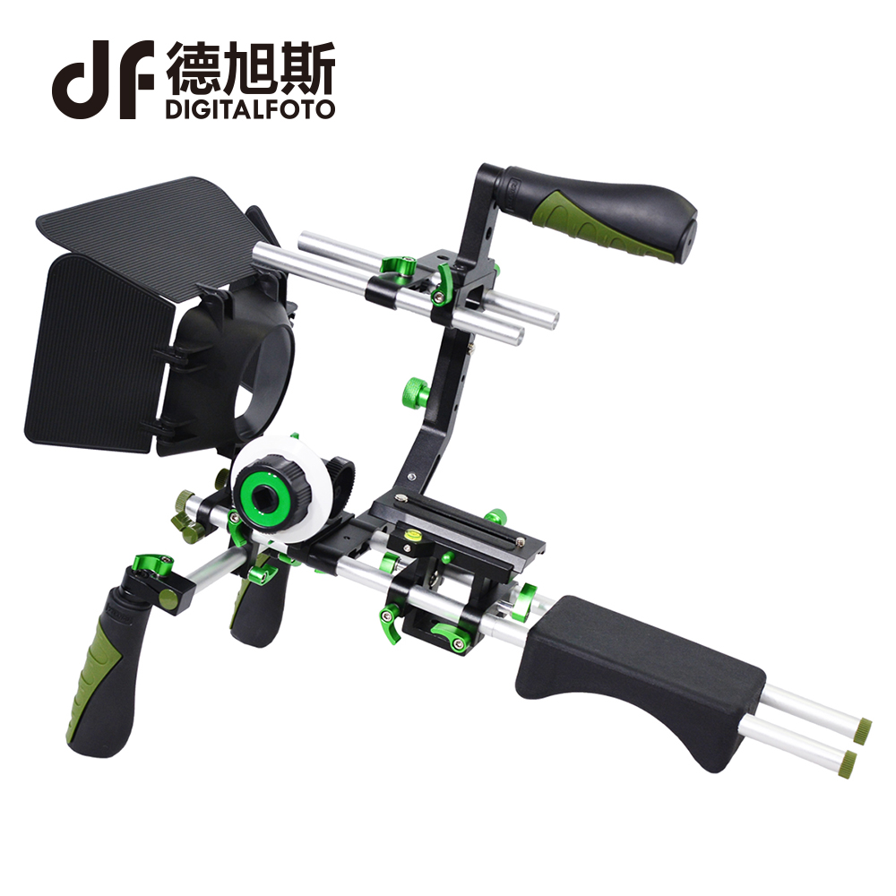 DSLR rig +follow focus+matte box+Ring Belt video 5D2 camera Shoulder mount cage handle stabilizer steadicam steadycam yelangu aluminum alloy camera video cage kit film system with video cage top handle grip matte box follow focus for dslr