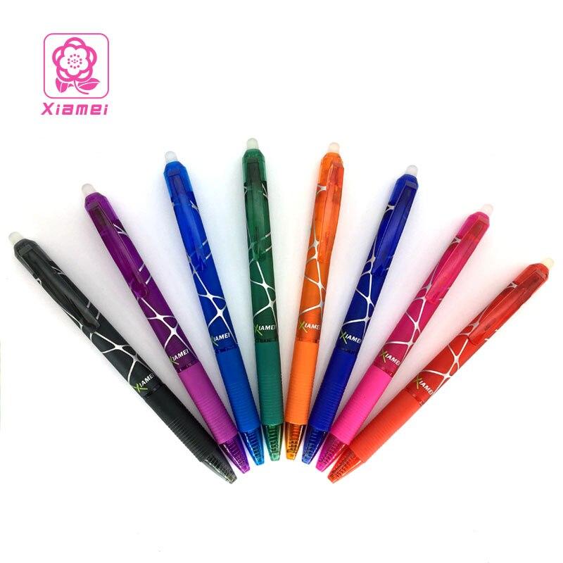 Xiamei 1 шт. стираемые гелевая ручка заправки красные, синие чернила-синий черный фиолетовый оранжевый розовый и зеленый Волшебный записи нейт...