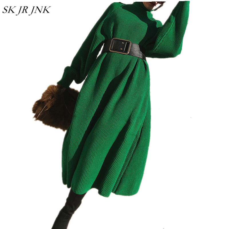 2018 Autumn Winter Women Sweater Dress Warm Turtleneck Ladies Fashion Loose Casual Long knitted Cotton Wild Dresses LYL276