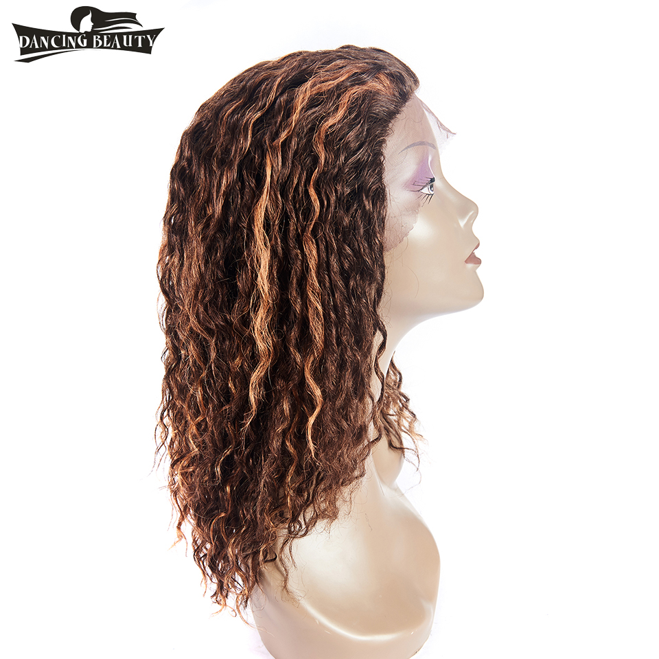 DANCING BEAUTY Pre-Colored Human Hair Wigs For Black Women Brazilian Water Wave Lace Front Wig Non Remy Hair Color 4/30