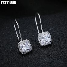 LYST1000 High Quality Fashion 925 Sterling Silver Earrings For Women Zircon Club Jewelry With CZ Christmas Gift To Girl