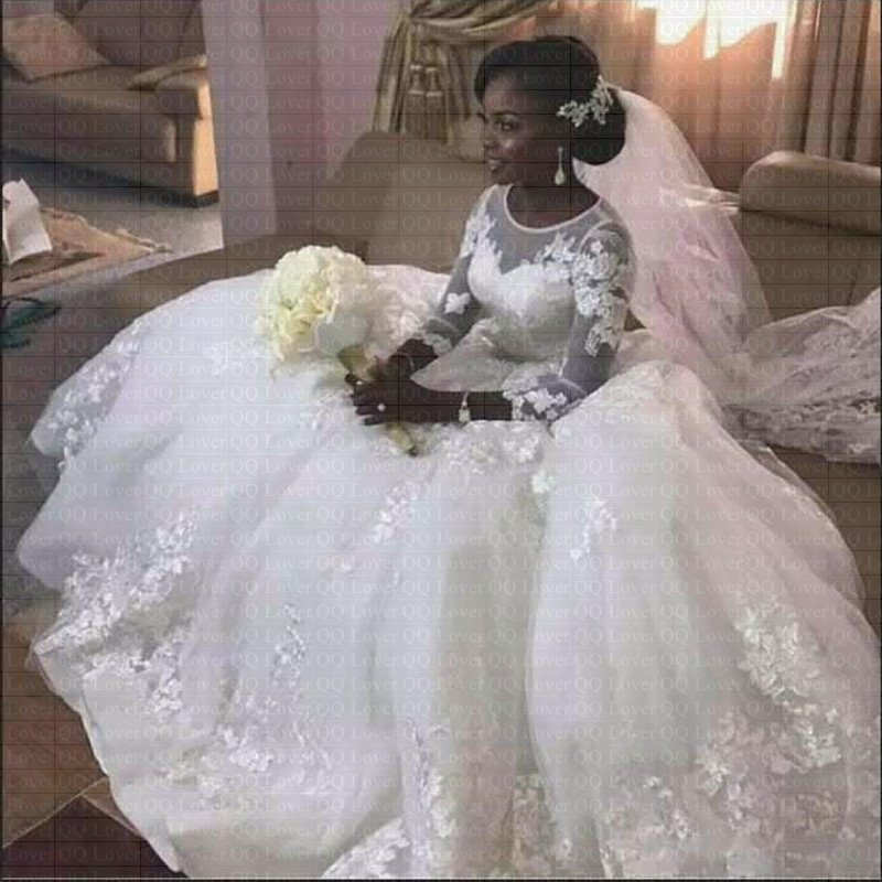 2019 New African Ball Gown Wedding Dress 3d Appliques Sheer Jewel Neck Buttons Back Bridal Dresses Wedding Gowns Buy At The Price Of 99 40 In Aliexpress Com Imall Com,Dress To Wear To A Wedding In November
