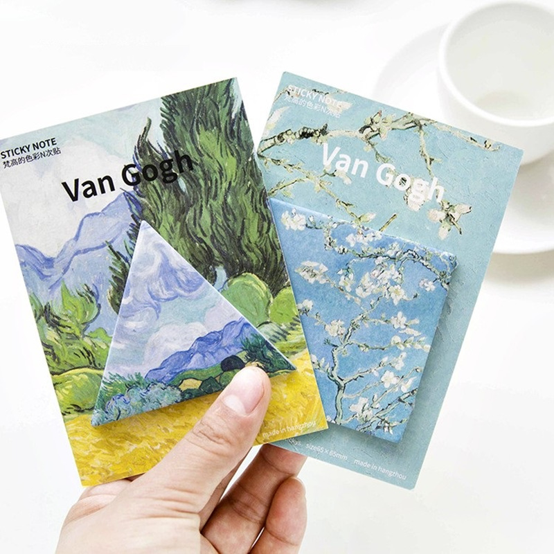 4 pcs Van Gogh Masterpiece memo pad Oil painting sticky note Post stickers planner Stationery Office School supplies CM763