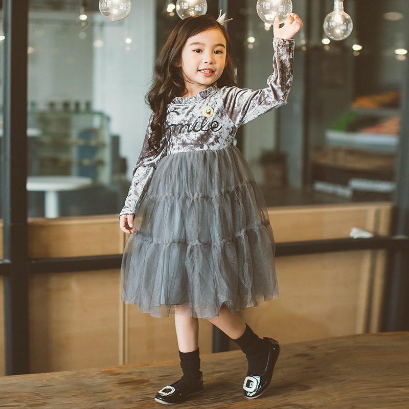 2017 Autumn Pleuche Velvet Girls Princess Dresses Lace Tulle Maxi Dress Long Sleeve For Wedding Party Christmas Kids Clothes teen girls long lace tulle dresses for