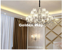 Modern Chrome Candle K9 Clear Crystal Chandeliers Ceiling Living Room Home Decor E14 LED AC Wholesale Chandelier Free Shipping