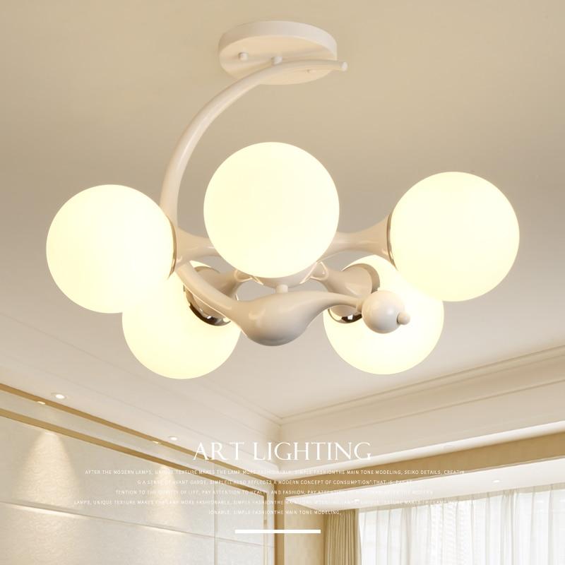 Living room lamp American iron chandelier creative bedroom light Nordic simple living room led ceiling Light 2227